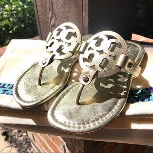 Tory Burch Miller NWOT Sandal Spark Gold Sz 4